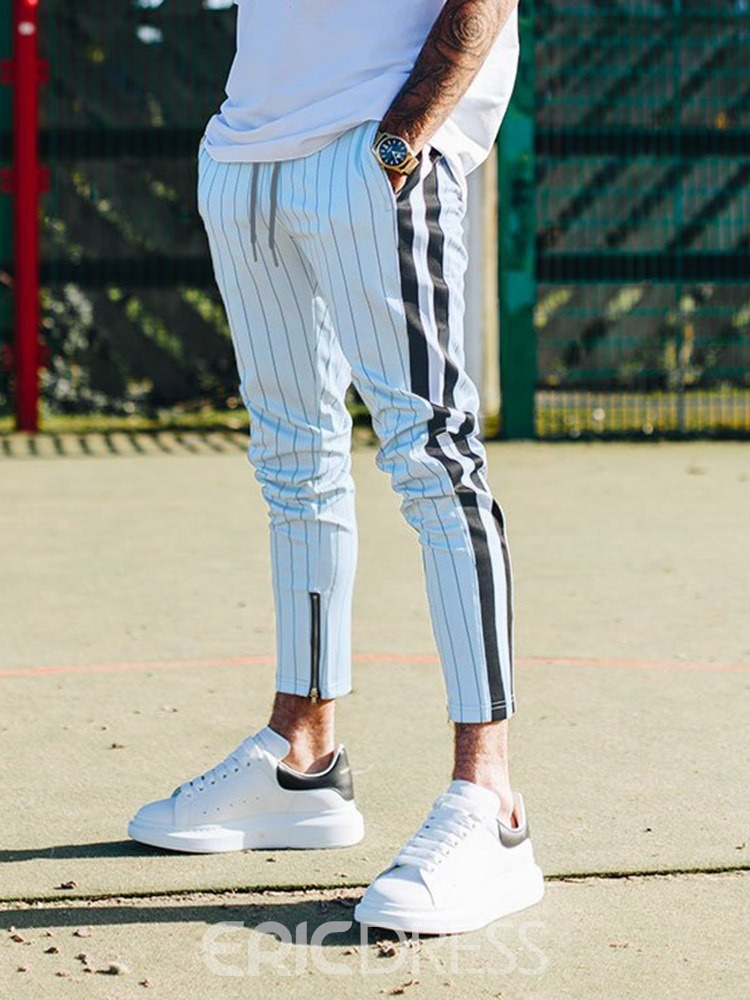 Ericdress Stripe Print Mid Waist Lace-Up Mens Casual Pants