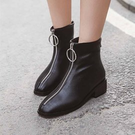 Ericdress Plain Round Toe Front Zipper Women's Ankle Boots