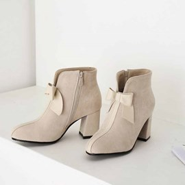 Ericdress Bow Patchwork Chunky Heel Side Zipper Women's Boots
