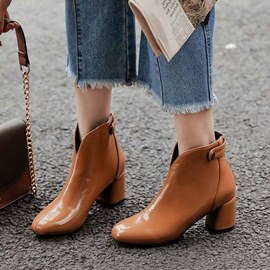 Ericdress Plain Round Toe Back Zip Chunky Heel Women's Ankle Boots