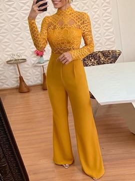 Ericdress Lace Fashion Full Length High Waist Bellbottoms Jumpsuit