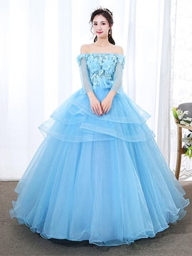 Ericdress Off-The-Shoulder Beading Ball Gown Floor-Length Quinceanera Dress 2019