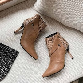 Ericdress Serpentine Back Zip Pointed Toe Stiletto Heel Women's Ankle Boots