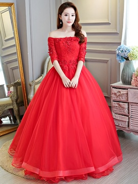 Ericdress Ball Gown Half Sleeves Off-The-Shoulder Floor-Length Quinceanera Dress 2019