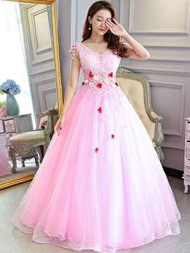 Ericdress Beading Floor-Length Ball Gown V-Neck Quinceanera Dress