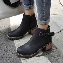 Ericdress Plain Side Zipper Round Toe Block Heel Women's Ankle Boots
