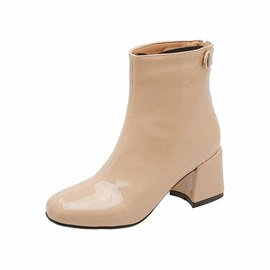 Ericdress PU Chunky Heel Round Toe Back Zip Women's Ankle Boots