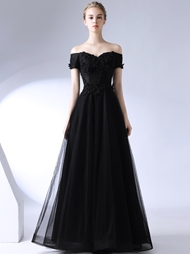 Ericdress Short Sleeves A-Line Appliques Floor-Length Evening Dress