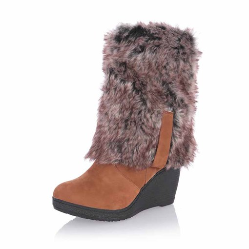 Ericdress Plain Wedge Heel Slip-On Women's Snow Boots