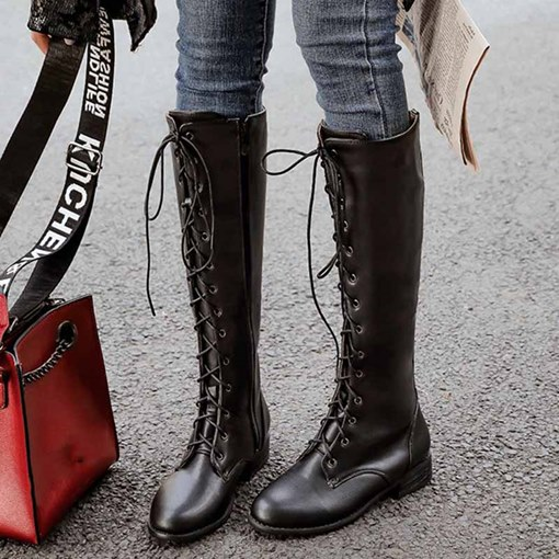 Ericdress Plain Side Zipper Pointed Toe Cross Strap Women's Boots