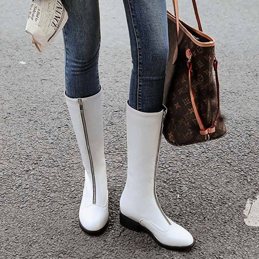 Ericdress Plain Round Toe Front Zipper Women's Flat Boots