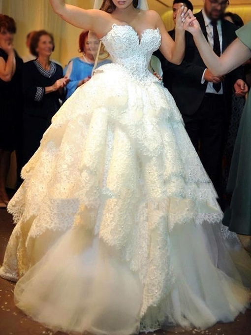 Ericdress Sweetheart Ball Gown Layers Lace Wedding Dress