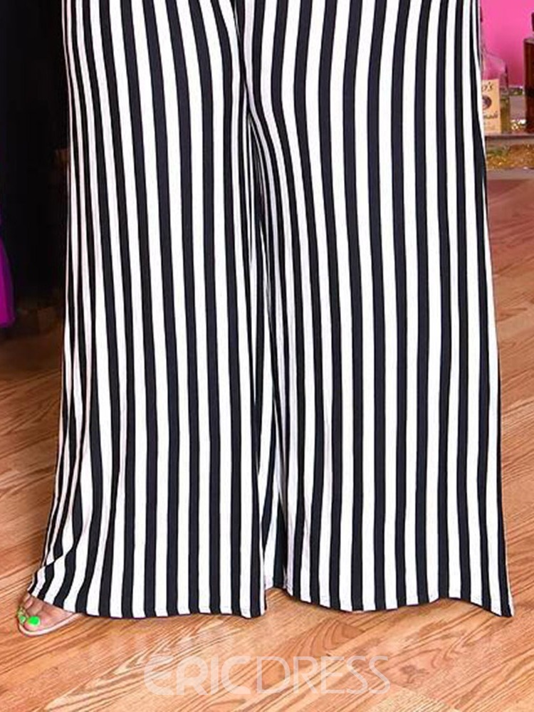 Ericdress Plus Size Full Length Stripe High Waist Loose Jumpsuit