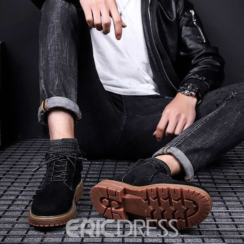 Ericdress Plain Lace-Up Front Round Toe Men's Boots