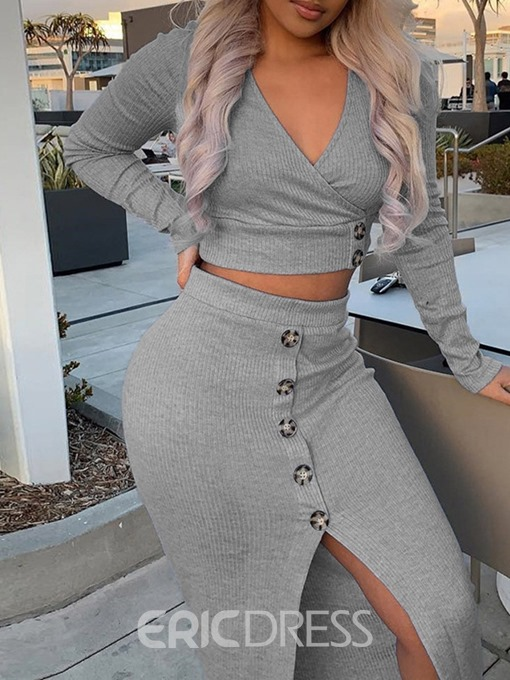 Ericdress Split Sexy Bodycon V-Neck Two Piece Sets