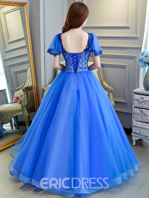 Ericdress V-Neck Beading Ball Gown Floor-Length Quinceanera Dress