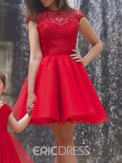 Ericdress Ball Gown Short Sleeve Round Neck Above Knee Lace Hollow Dress