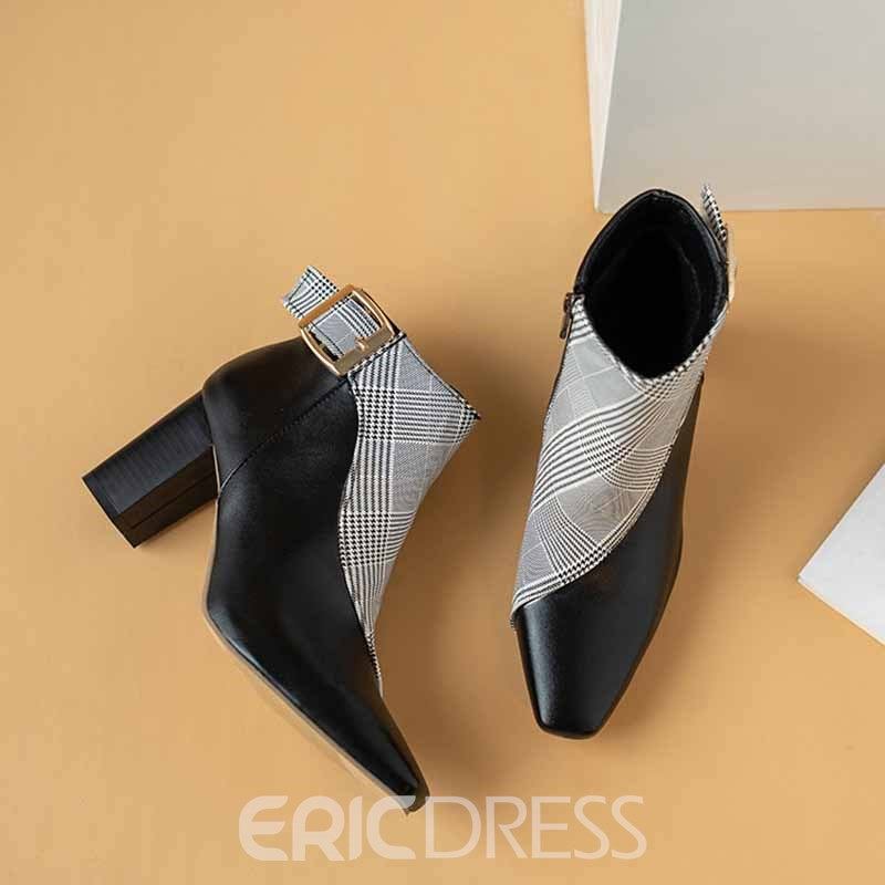 Ericdress Plaid Color Block Side Zipper Chunky Heel Women's Ankle Boots