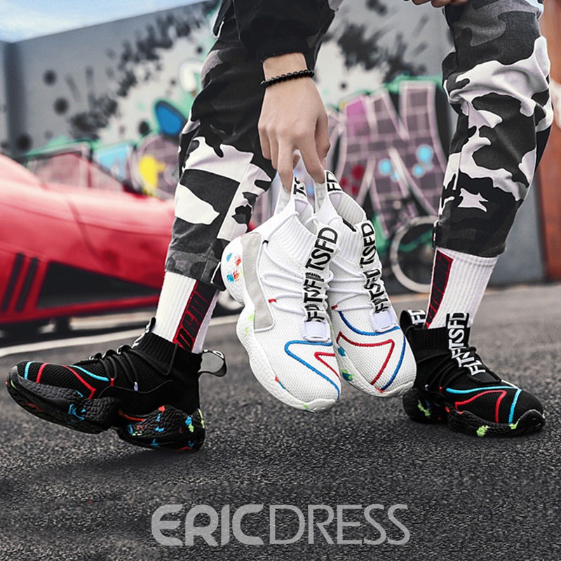 Ericdress Flyknit Lace-Up Mid-Cut Upper Men's Sneakers