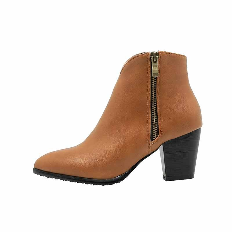 Ericdress PU Side Zipper Pointed Toe Chunky Heel Women's Ankle Boots