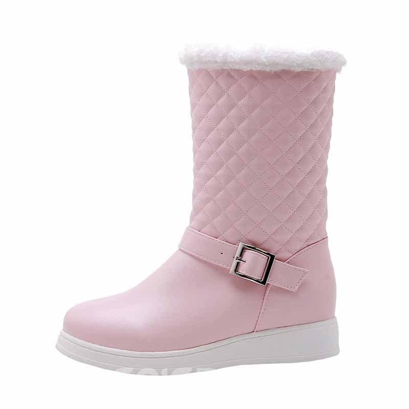 Ericdress PU Round Toe Color Block Slip-On Women's Snow Boots