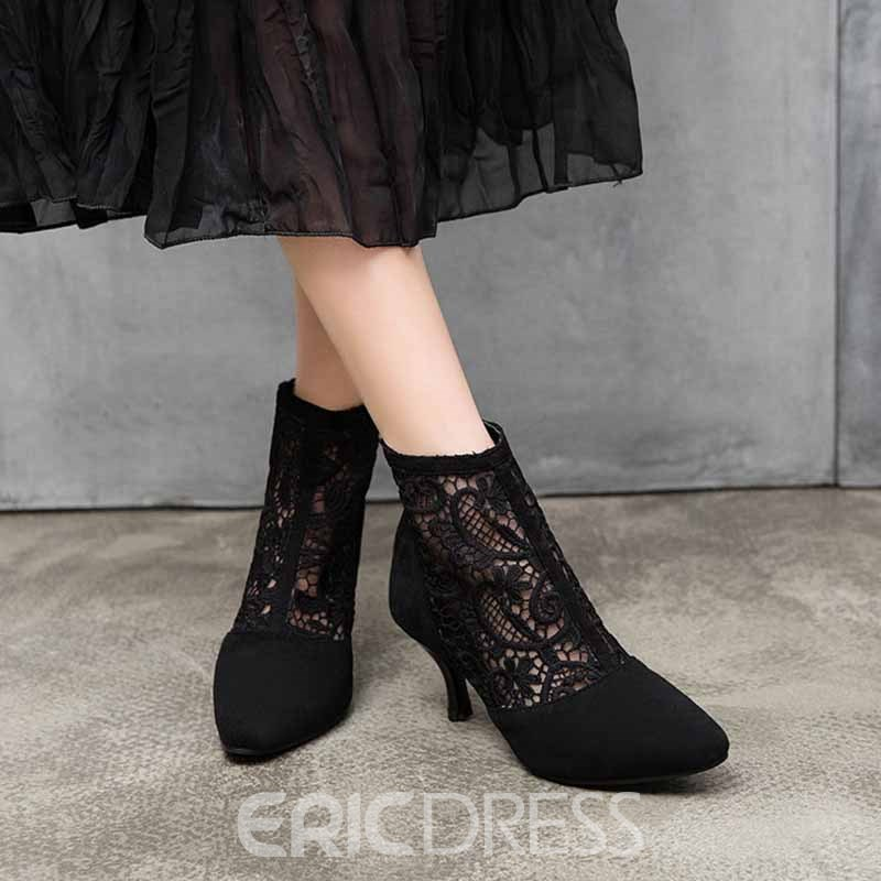 Ericdress Patchwork Stiletto Heel Pointed Toe Women's Ankle Boots