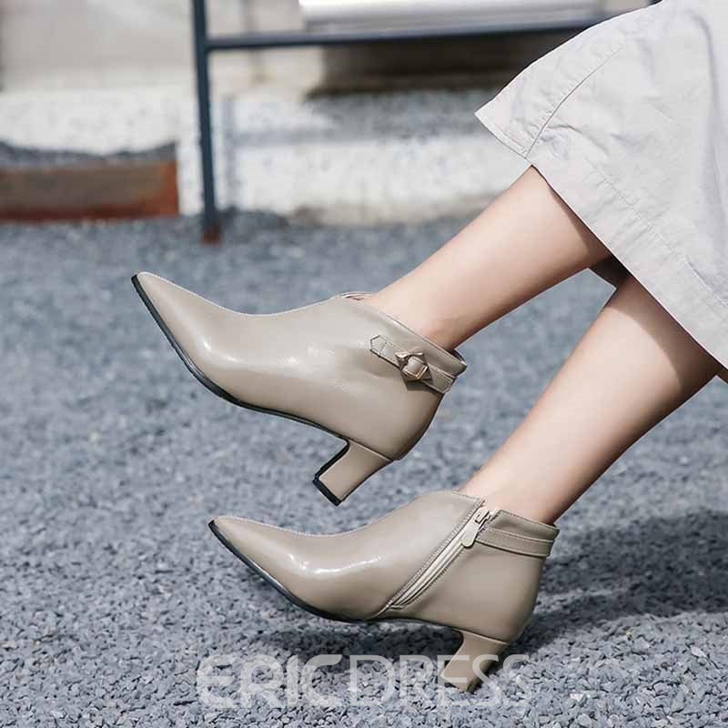 Ericdress Plain Zipper Chunky Heel Pointed Toe Women's Ankle Boots