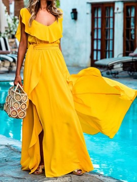 Ericdress V-Neck Backless Floor-Length Sweet Split Yellow Dress