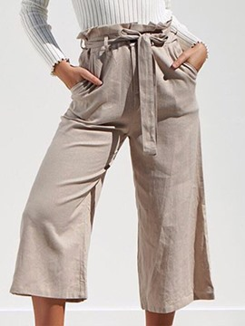 Ericdress Lace-Up Plain Loose Ankle Length High Waist Casual Pants