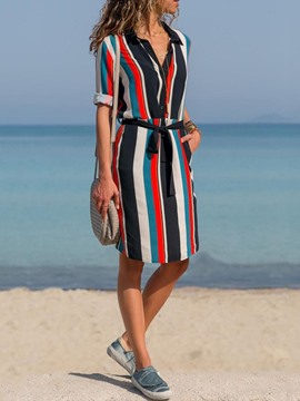 Ericdress Print Lapel Long Sleeve Striped Casual Dress