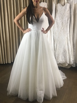 Ericdress Spaghetti Straps Backless Sequins Wedding Dress 2019