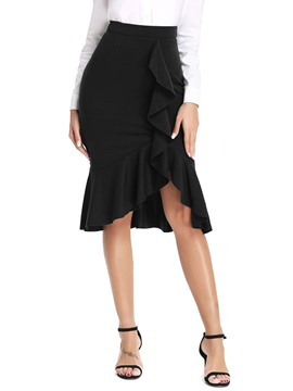Ericdress Stringy Selvedge Asymmetrical Knee-Length Elegant High Waist Skirt