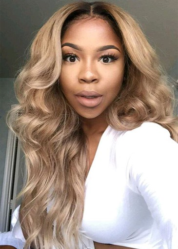Ericdress Women's Blonde Ombre Lace Front Wigs Synthetic Realistic Looking Long Wavy Wigs 26Inch