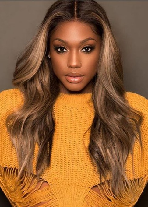 Ericdress Women Glueless Wavy Ombre Ash Blonde Pre Plucked Baby Hair Synthetic Hair Lace Front Wig 24Inch