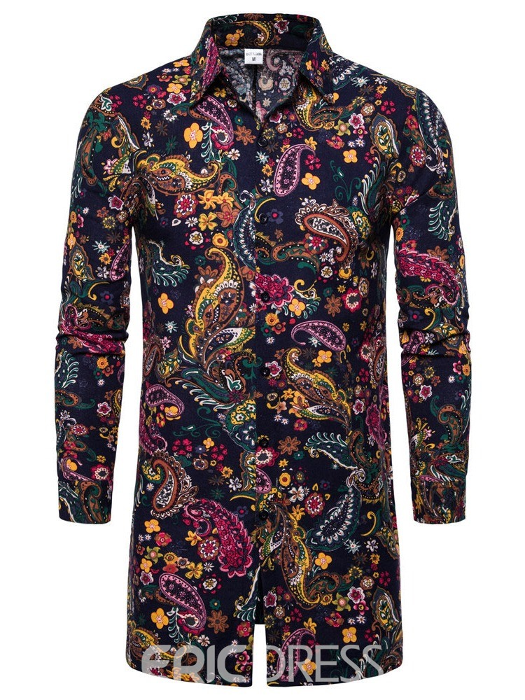Ericdress Fashion Print Floral Lapel Men's Single-Breasted Shirt