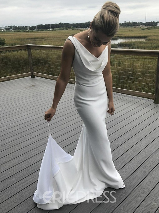 Ericdress Cowl Neckline Sheath Beach Wedding Dress