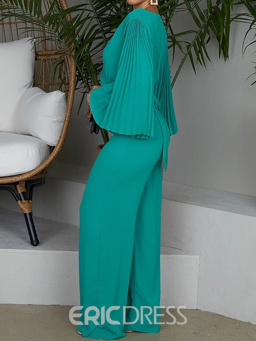 Ericdress Full Length Lace-Up Pleated Plain High Waist Slim Jumpsuit