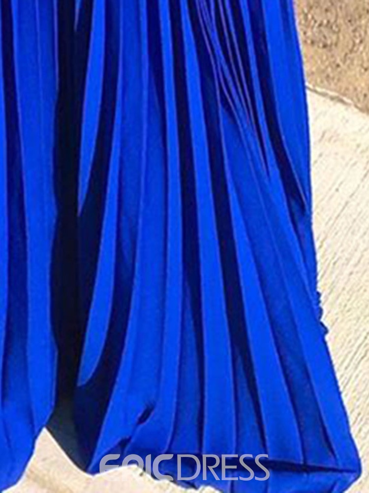 Ericdress Off Shoulder Floor-Length Pleated Plain Blue Dress