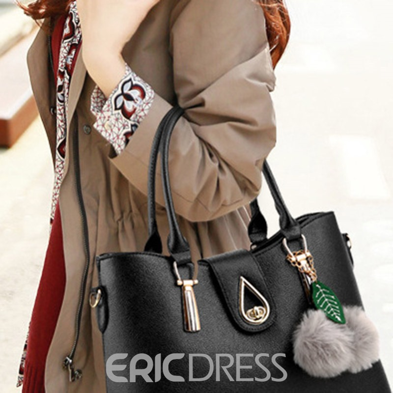 Ericdress European Fuzzy Ball Decorated Latch Handbags(3 Bags)