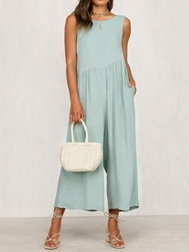 Ericdress Mid-Calf Plain Wide Legs Loose Jumpsuit