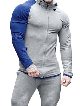 Ericdress Pocket Pullover Color Block Men's Slim Hoodies