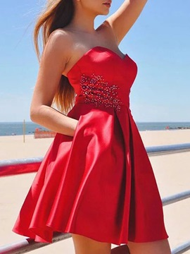 Ericdress Short Sleeveless A-Line Sweetheart Homecoming Dress 2019