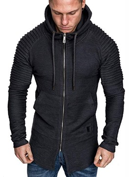 Ericdress Cardigan Zipper Color Block Men's Casual Hoodies