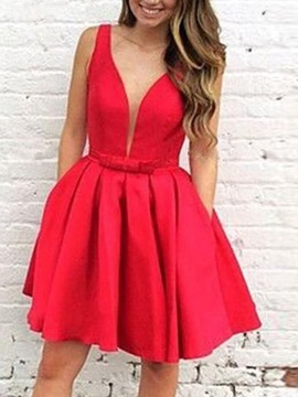 Ericdress A-Line Short Sleeveless V-Neck Homecoming Dress 2019