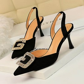 Ericdress Sequin Pointed Toe Slingback Strap Slip-On Women's Sandals