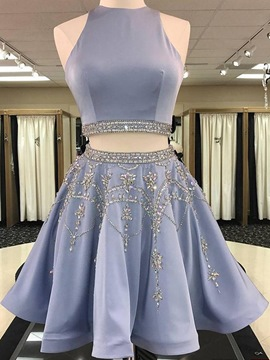 Ericdress Beading A-Line Sleeveless Jewel Homecoming Dress
