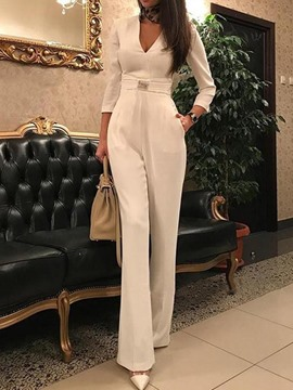 Ericdress Plain Full Length Straight High Waist Jumpsuit