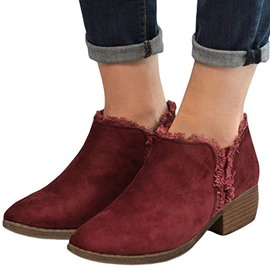 Ericdress Patchwork Pointed Toe Chunky Heel Slip-On Women's Ankle Boots