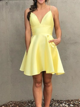 Ericdress Short Sleeveless Pockets A-Line Homecoming Dress 2019