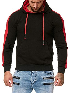 Ericdress Pullover Color Block Patchwork Casual Men's Slim Hoodies